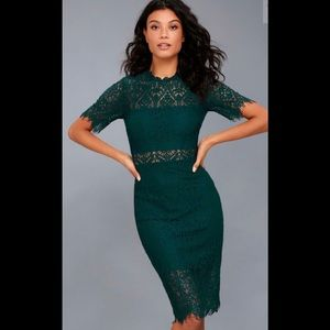 "LULUS ""Remarkable forest green lace dress"""